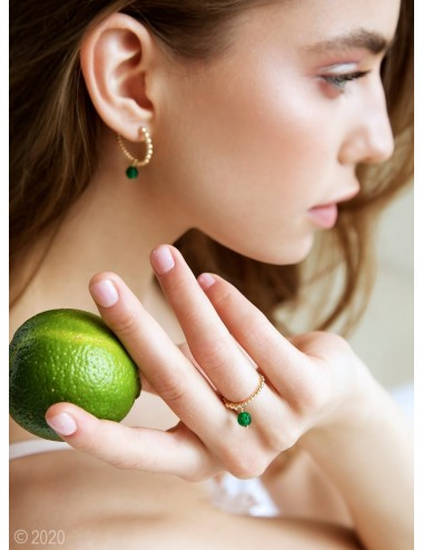 Gold-filled green jade ring...
