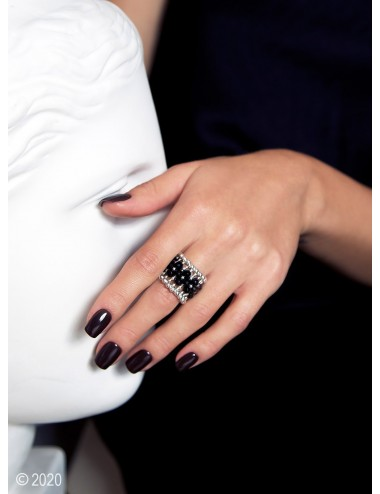 Sterling silver and black onyx beaded ring
