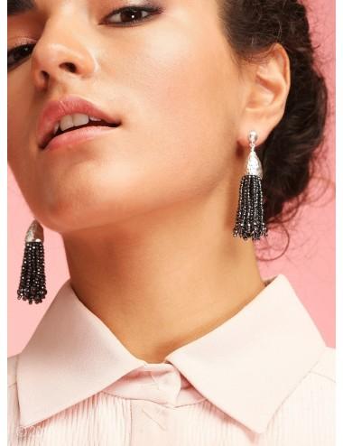 Hematite tassel earrings