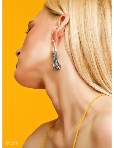 Rhodium-plated hematite tassel earrings