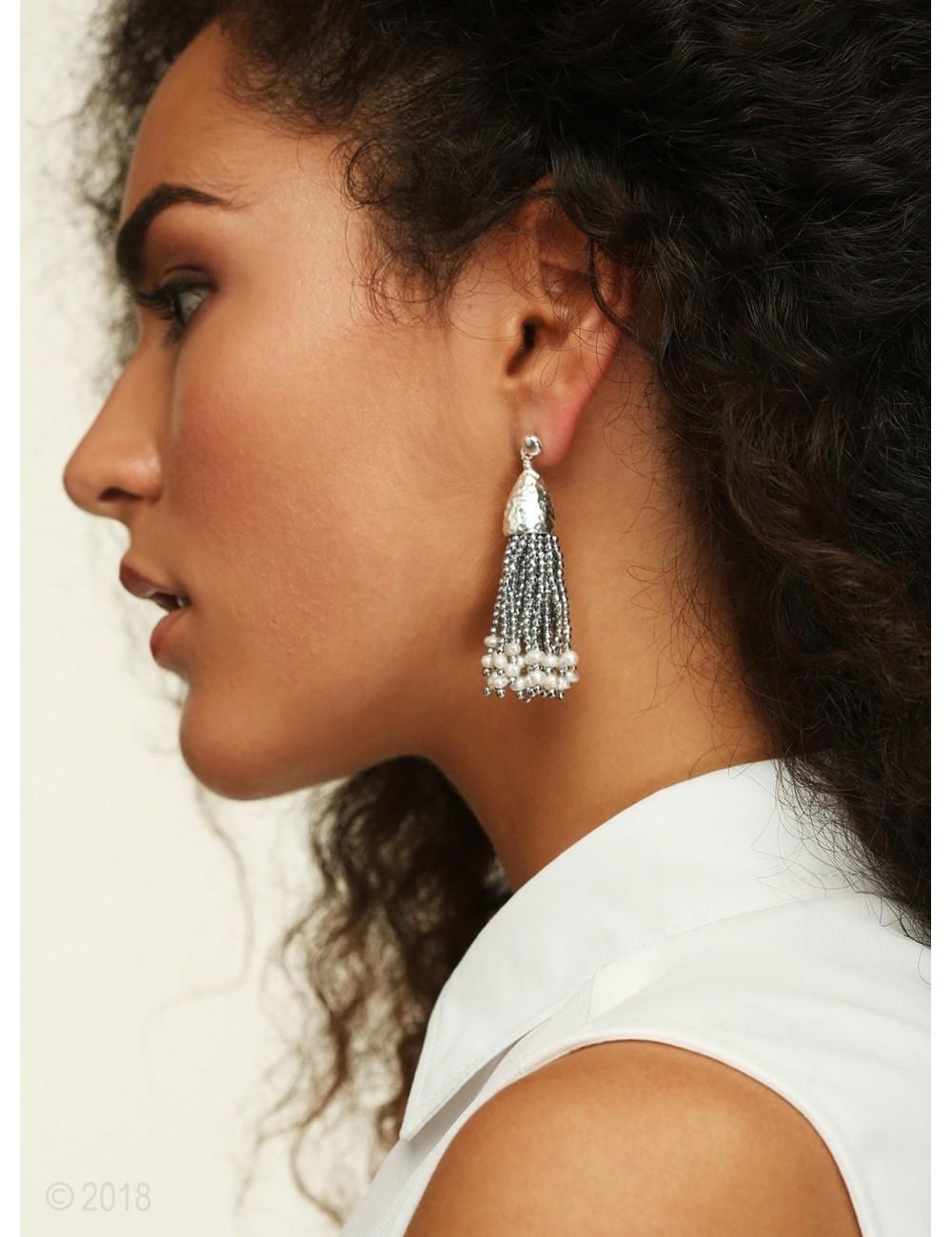 Rhodium-plated hematite and freshwater pearl tassel earrings