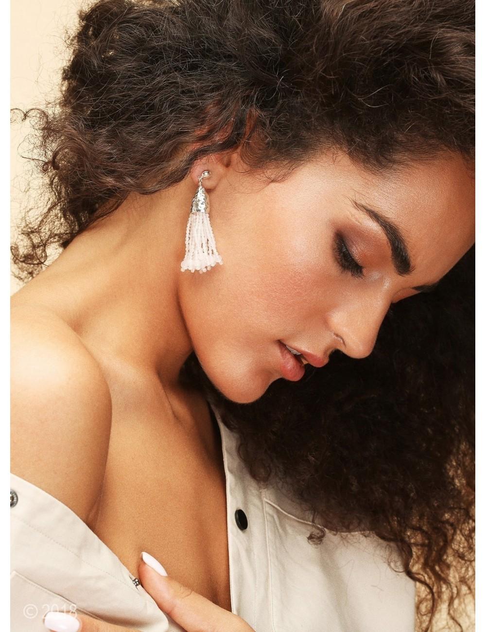 Rose quartz tassel earrings