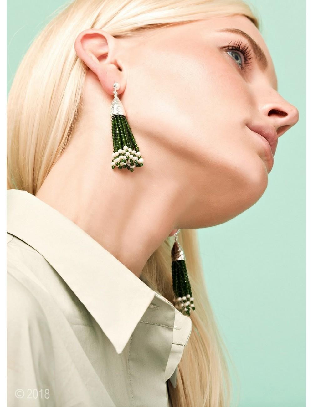 Emerald jade and white freshwater pearl tassel earrings