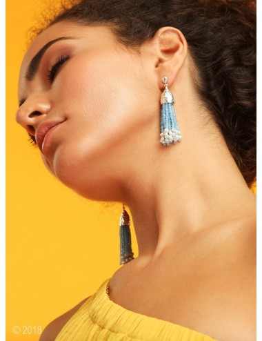 Blue agate and pearl tassel earrings